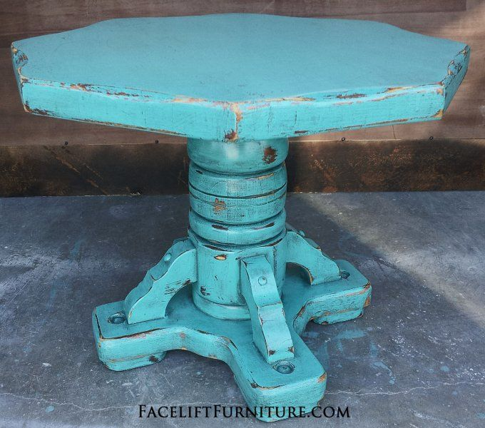Rustic Turquoise Pedestal End Table With Black Glaze. From Facelift  Furnitureu0027s End Tables Collection.