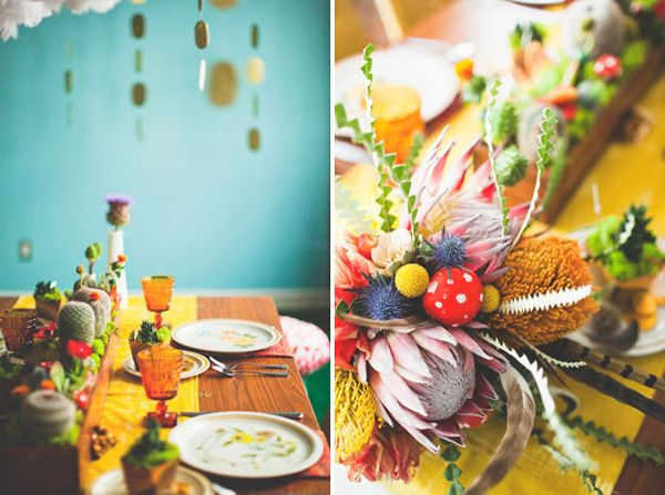 yellow, blue and bold decor