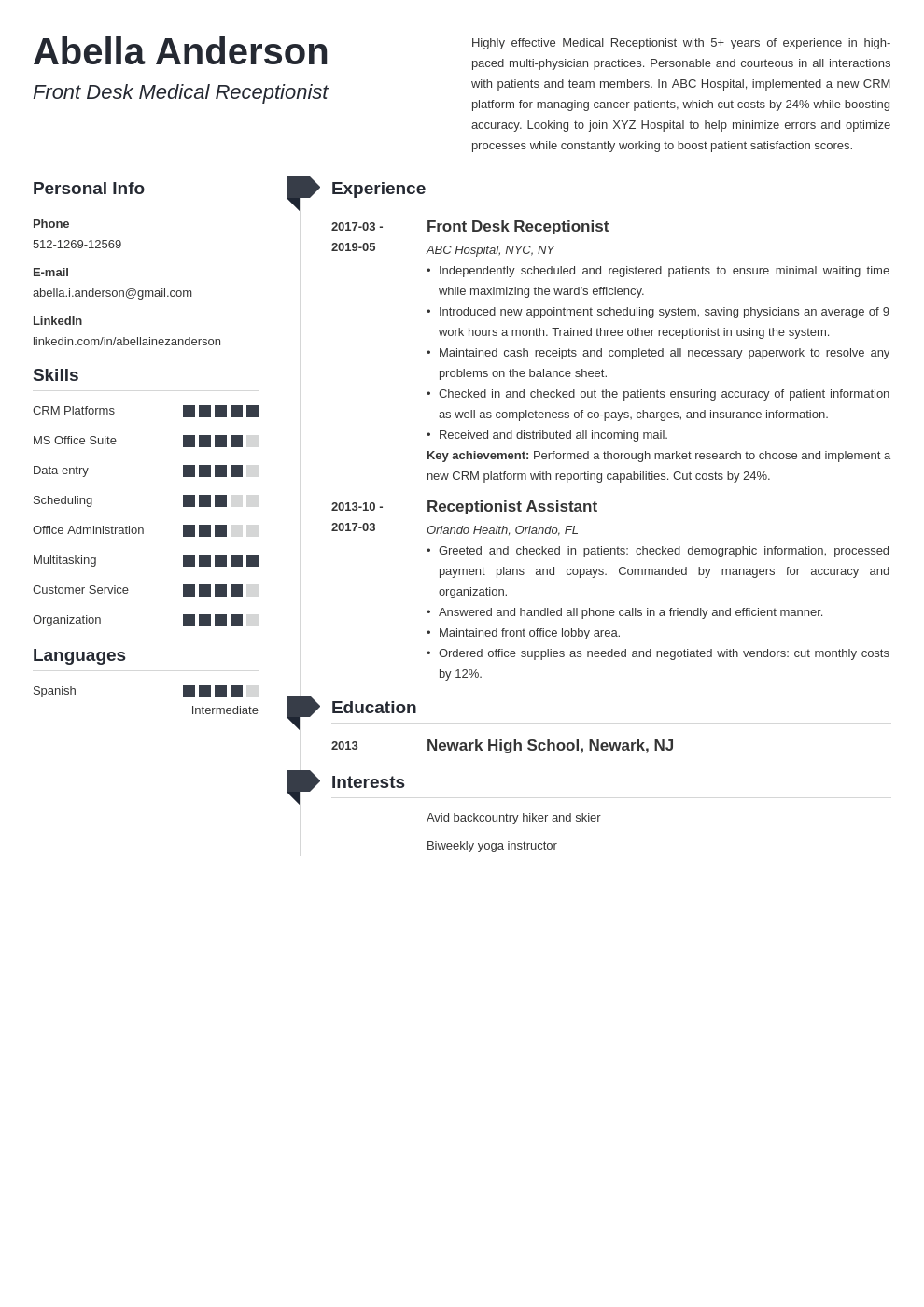 medical receptionist resume example template muse in 2020