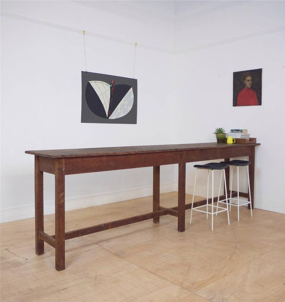 Awesome Long Slim Antique Pine Serving Table / Kitchen Aisle / Bar