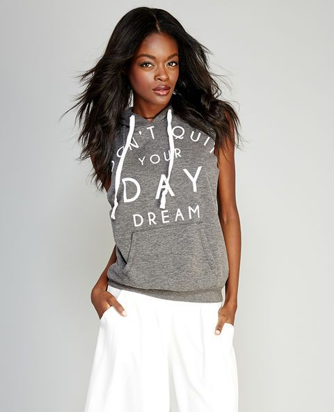 "<p>This cool and edgy hooded tank is a reminder to never give up on your dreams! Details include a ""Don't Quit Your Day Dream"" screen print across the front, a pocket at the waist, oversized and raw-edged armholes, and a hood with drawstrings.</p>  <p>Model wears a size small.</p>  <ul> 	<li>Hooded</li> 	<li>Sleeveless</li> 	<li>Unlined</li> 	<li>Polyester / Cotton</li> 	<li>Machine Wash</li> 	<li>Imported</li> </ul>"
