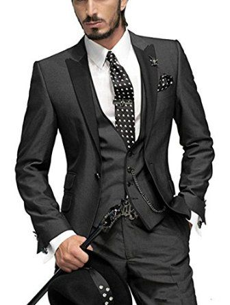 52925369e6e MRYSY Black Classic Fit Notch Lapel Groom Tuxedos Wedding Party Groomsman  Suits (Custom Made) at Amazon Men's Clothing store: