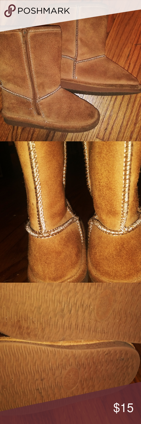 TODDLERS LITTLE GIRLS BROWN SUEDE BOOTS SIZE 11