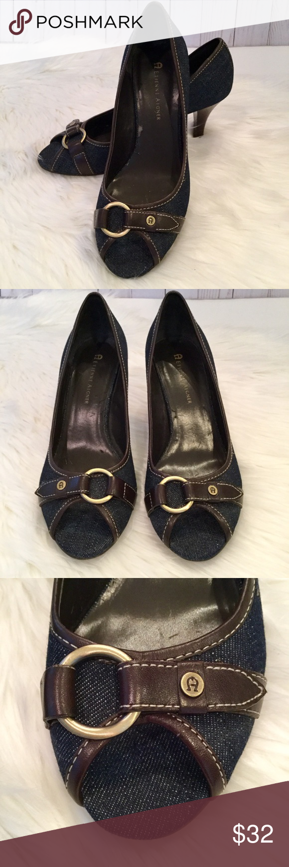 "Aigner Denim and Leather Peep Toe Heels, 6, EUC Adorable denim heels with genuine leather brown trim and peep toe. Heel is a comfortable 2.75"" height. Scuff on right heel and some wear on inside of shoes. Otherwise very clean and like new. Etienne Aigner Shoes Heels"