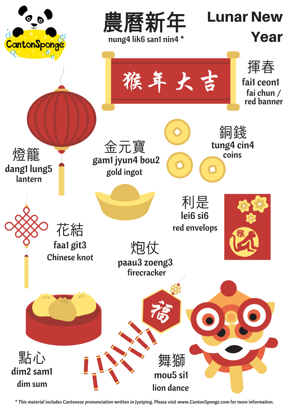 Bilingual English Chinese Lunar New Year Poster With Clear
