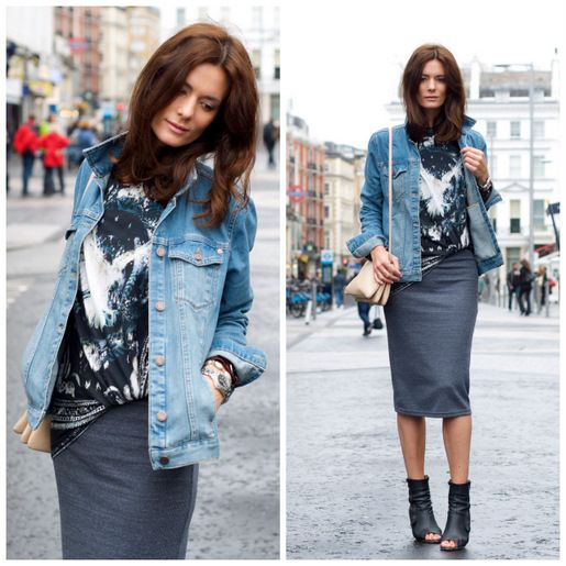 denim jacket, grey pencil skirt and ankle boots | Clothing ...