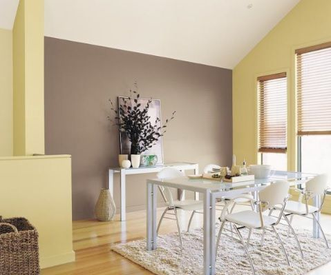 Brown Feature Wall With Cream Walls House Paint Interior Yellow