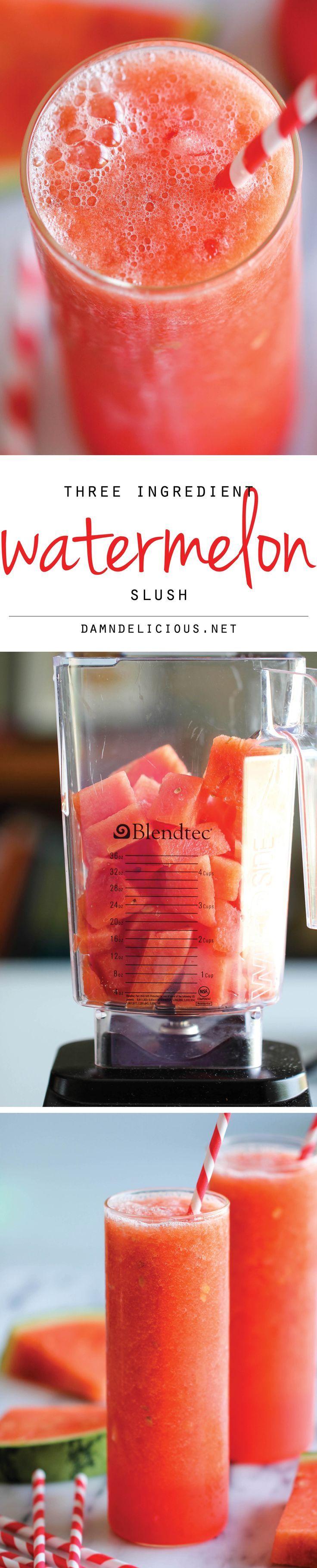 Bebida: Granizado de sandía. {Watermelon Slush because I have left over 4th of July watermelon}
