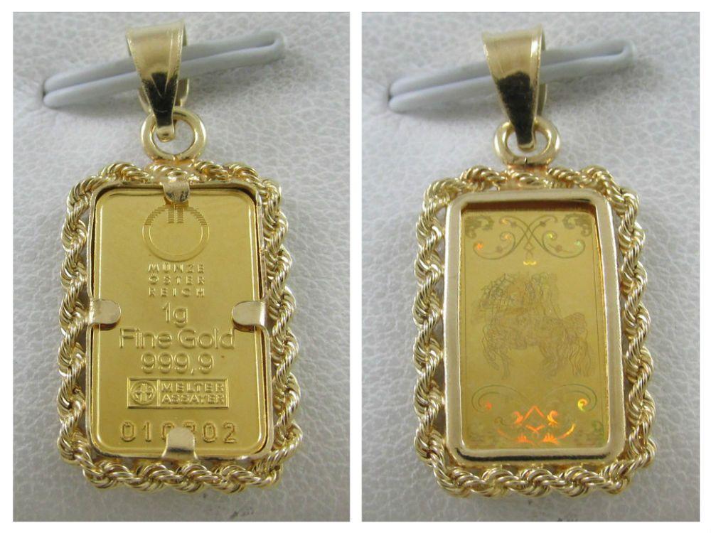 Munze Oster Reich 1 Gram 999 9 Fine Gold Bar Pendant In 14k Gold Rope Bezel Pendant Gold Bar Pendant Bar Pendant Gold Bar