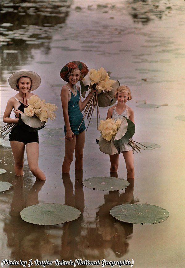 @HistoryInPix : Girls standing in water holding bunches of American Lotus Amana Iowa 1938. https://t.co/ILBrMac674 || #Erinnerungen #Memories #Geschichte #History #Vintage