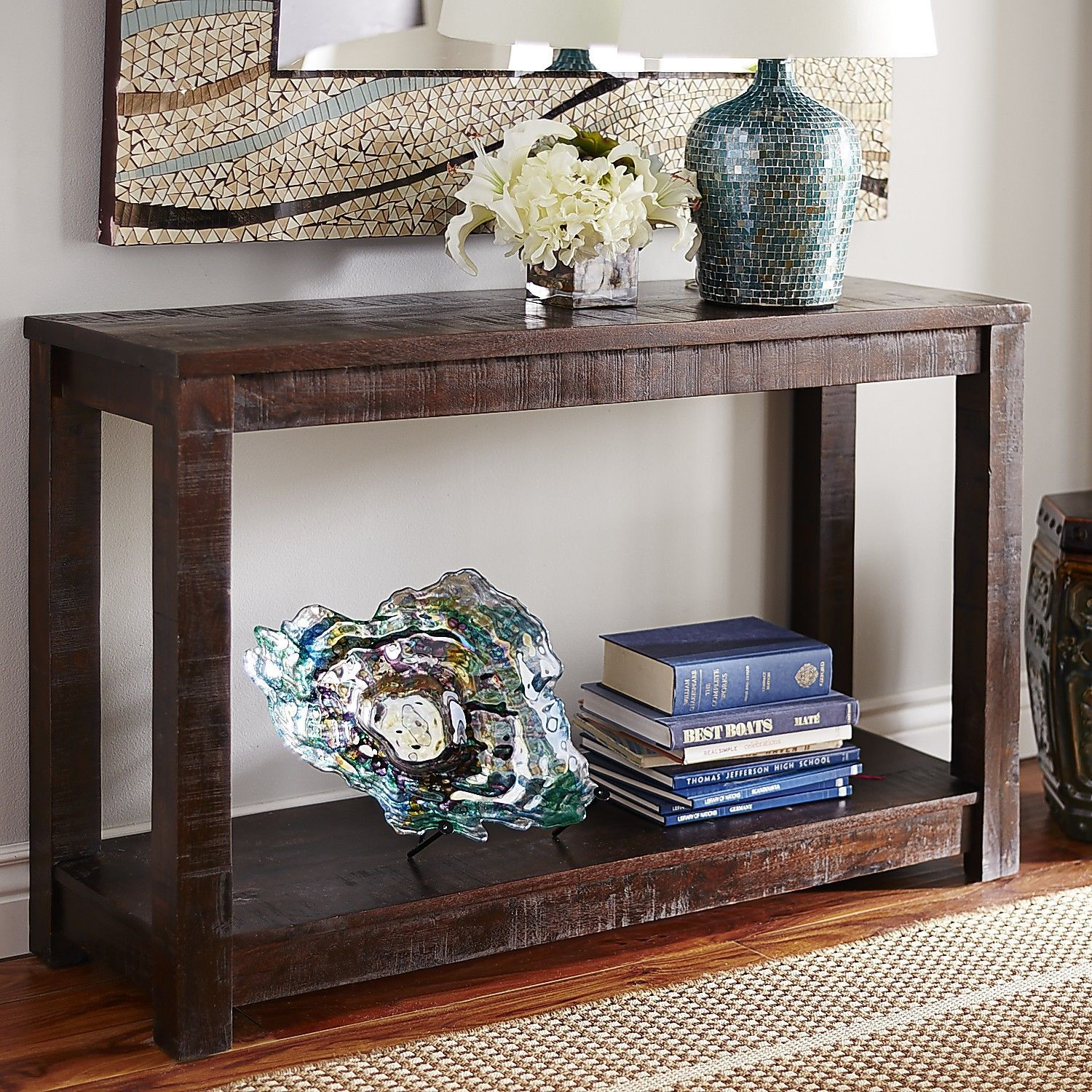 Parsons Tobacco Brown Console Table Solid Wood Table Console Table Inside Decor