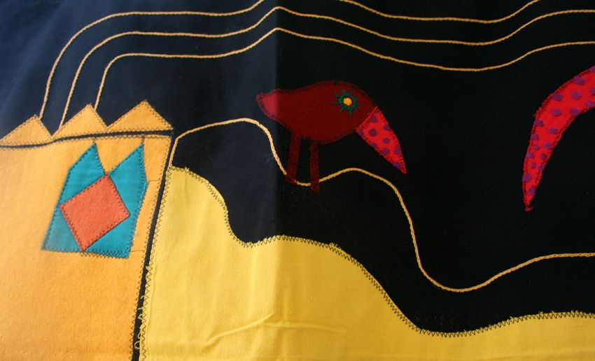 recycle, textile, embroidery, bird