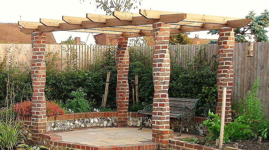 twisted brick columns holding up pergola brick columns Brick Pergola Designs id=77443