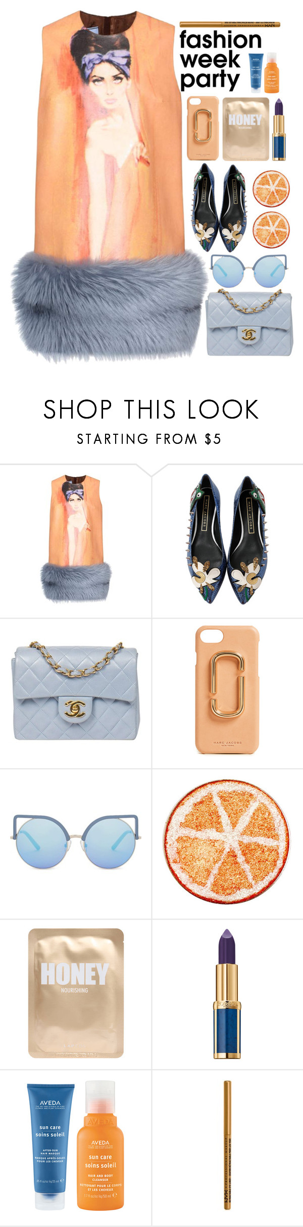 """/.FWparty2./"" by semashamrr ❤ liked on Polyvore featuring Prada, Marc Jacobs, Chanel, Matthew Williamson, Lapcos, Balmain, Aveda and NYX"