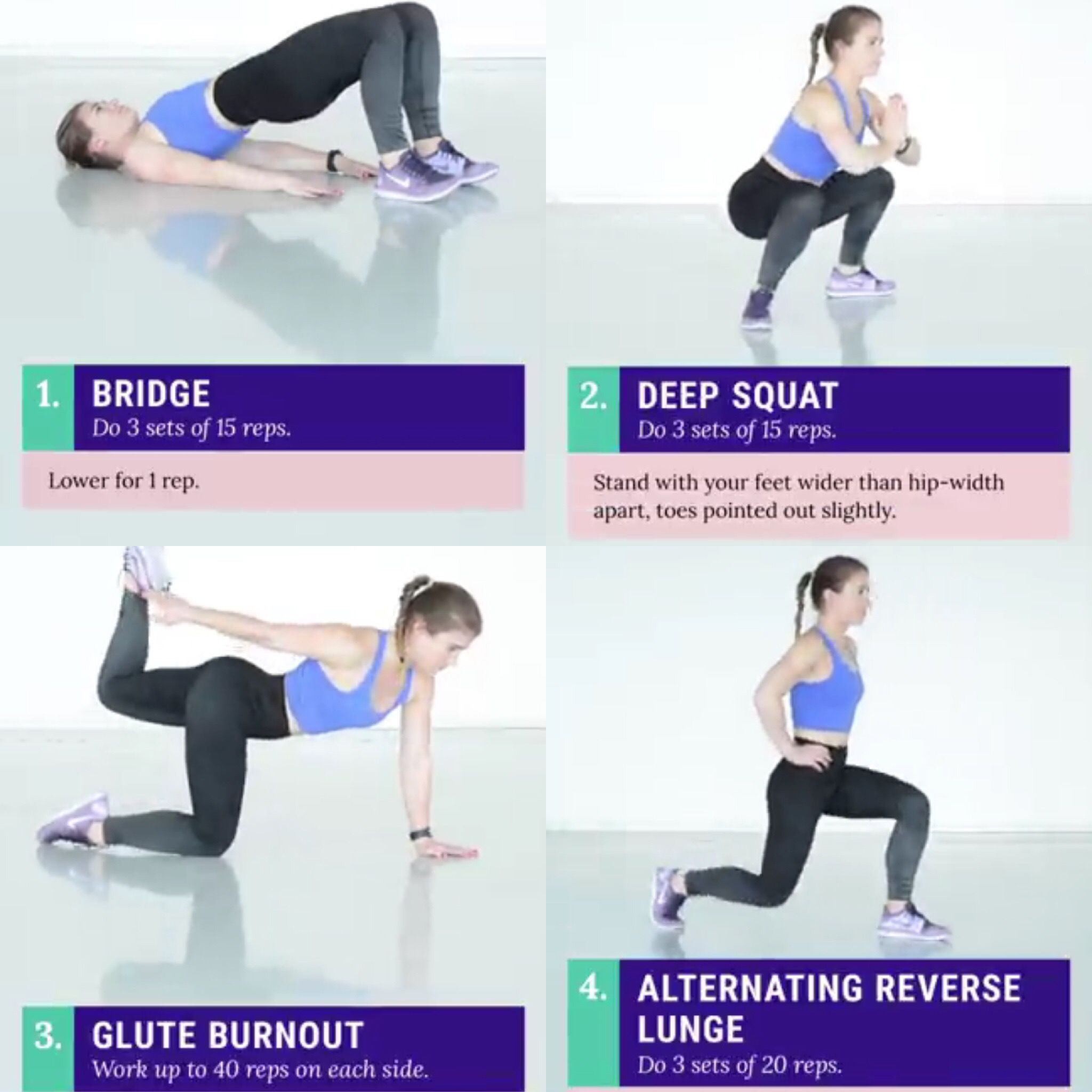 Booooty   Deep squat Reverse lunges Excersize