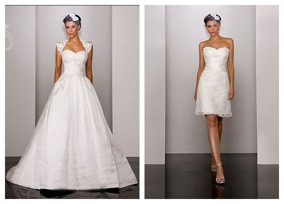 Taffeta And Lace Sweetheart Ball Gown 2 In 1 Wedding Dress