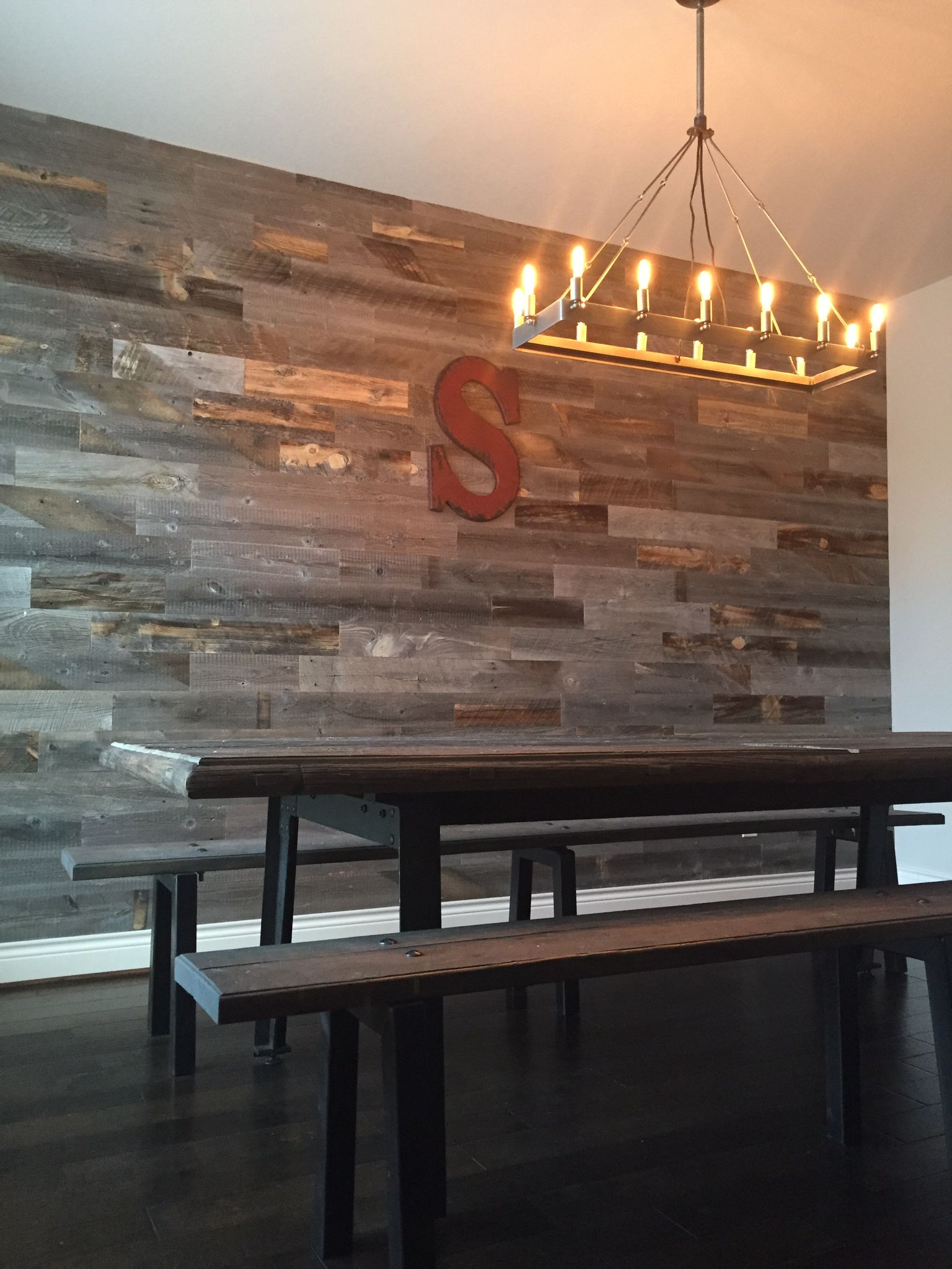 Reclaimed Weathered Wood Dining Room Walls Stick On Wood Wall