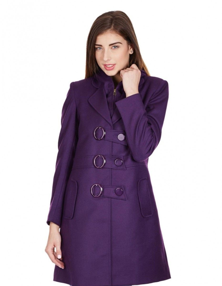 Monte Carlo Winter 2017 Stunning Purple Long Coat With Buttons For Winter Coats For Women Long Coat Women Pretty Winter Outfits [ 1200 x 932 Pixel ]