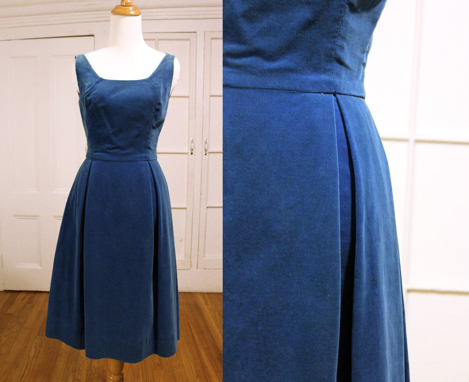 Vintage 1950s Tail Party Dress Shire Blue Velvet Gown Wiggle Hourgl Pinup