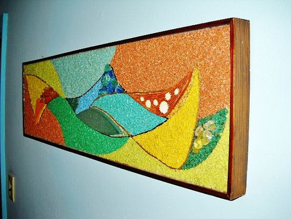 Retro Wall Art mid century modern cubist abstract pebble art framed atomic