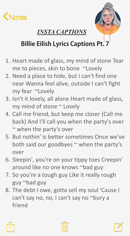Billie Eilish Lyrics Captions In 2020 Instagram Quotes Captions Good Instagram Captions Instagram Quotes