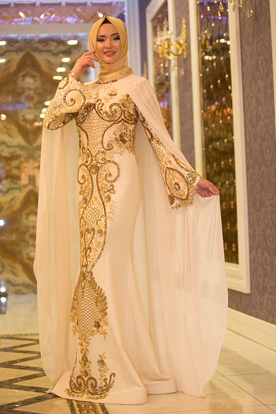 3230a181b9b7f 2018/2019 Yeni Sezon Özel Tasarım Abiye Koleksiyonu - Tesettürlü Abiye  Elbise - Pul Payetli