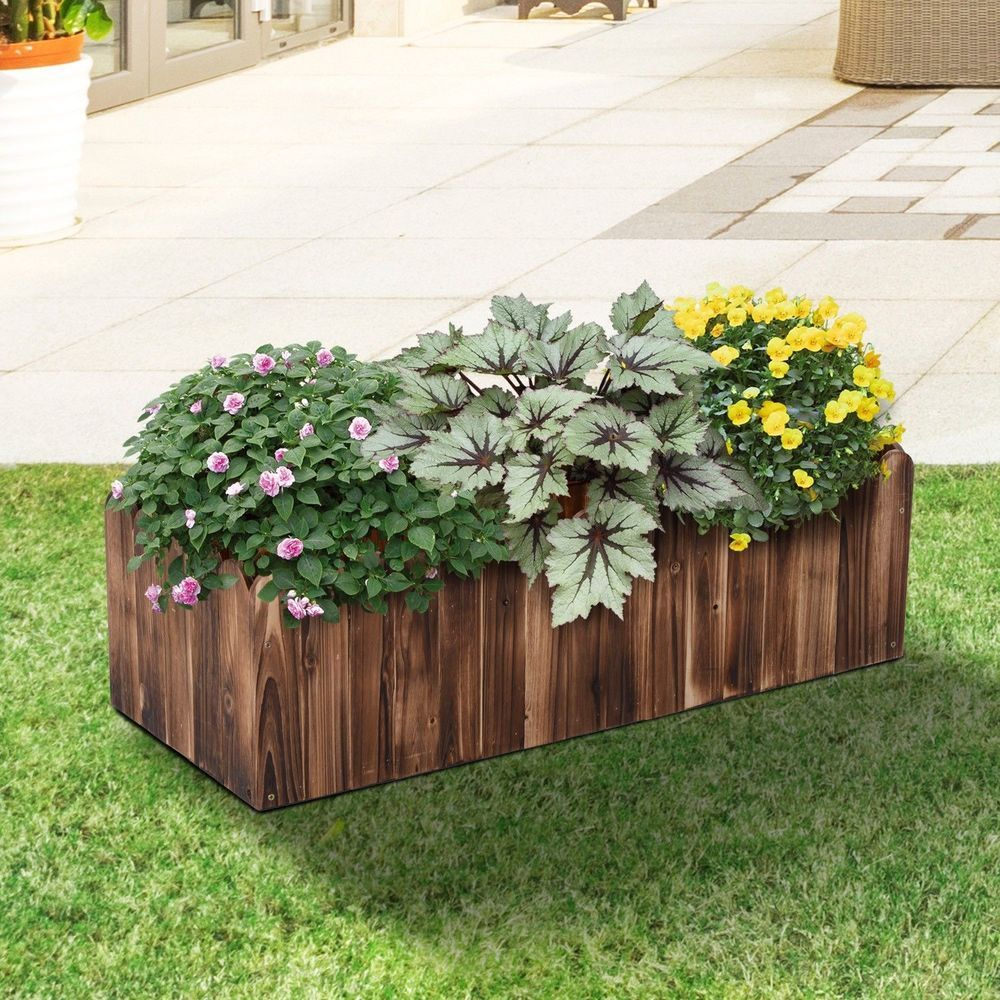 Outdoor Raised Garden Planter Bed Box Natural Fir Wood