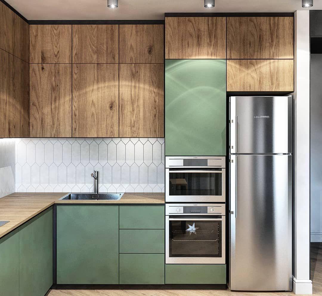 Kuhni Shkafy Mebel Na Zakaz On Instagram Green Kitchen Drevesnye Motivy V Duete Kitchen Inspiration Design Kitchen Room Design Modern Kitchen Design
