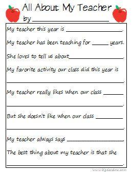 Printable Teacher Interview Questionnaire Teacher Appreciation