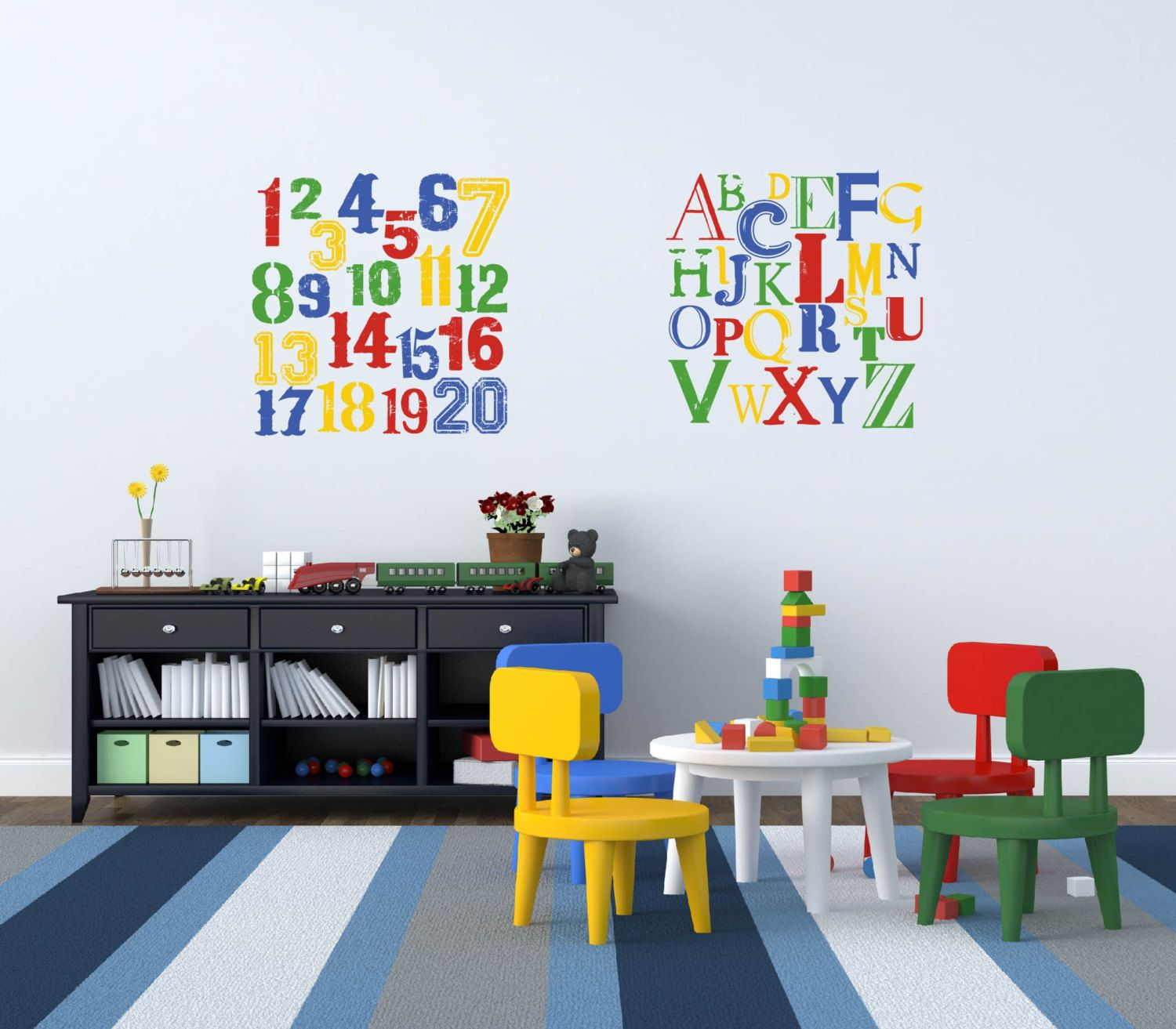 Alphabet Wall Decal 123 Wall Decal Vintage Letters And Numbers