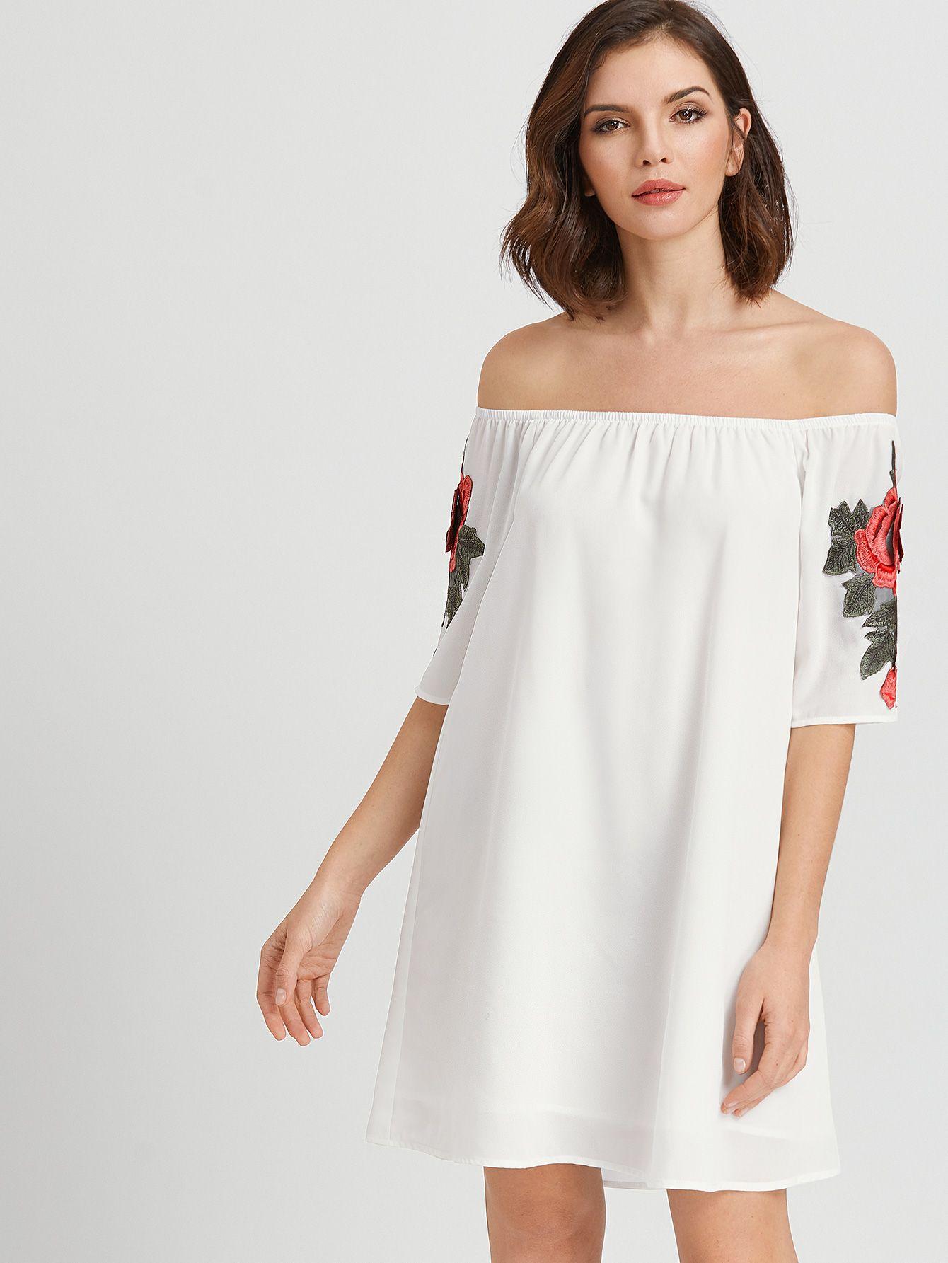 6bdda0544d Shop White Rose Applique Off The Shoulder Dress online. SheIn offers White  Rose Applique Off