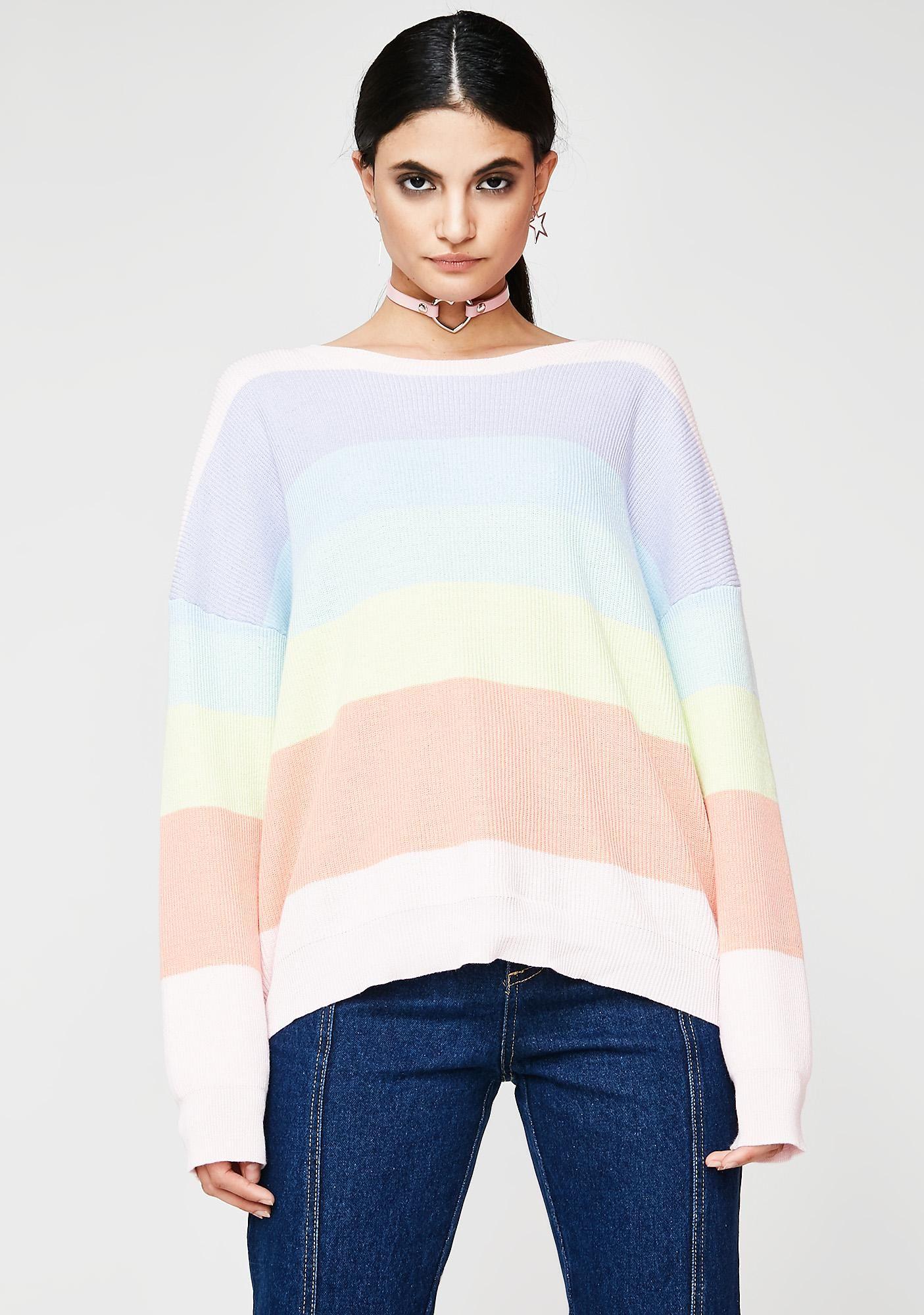 5af6848be2 Walkin  On Sunshine Sweater got ya feelin  bright. This cozy sweater has a  round neckline