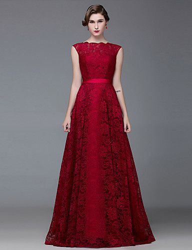 Formal Evening Dress A-line Bateau Floor-length Lace   Satin with Lace    Sash   Ribbon 4933661 2016 –  82.49 70826c2dcb04
