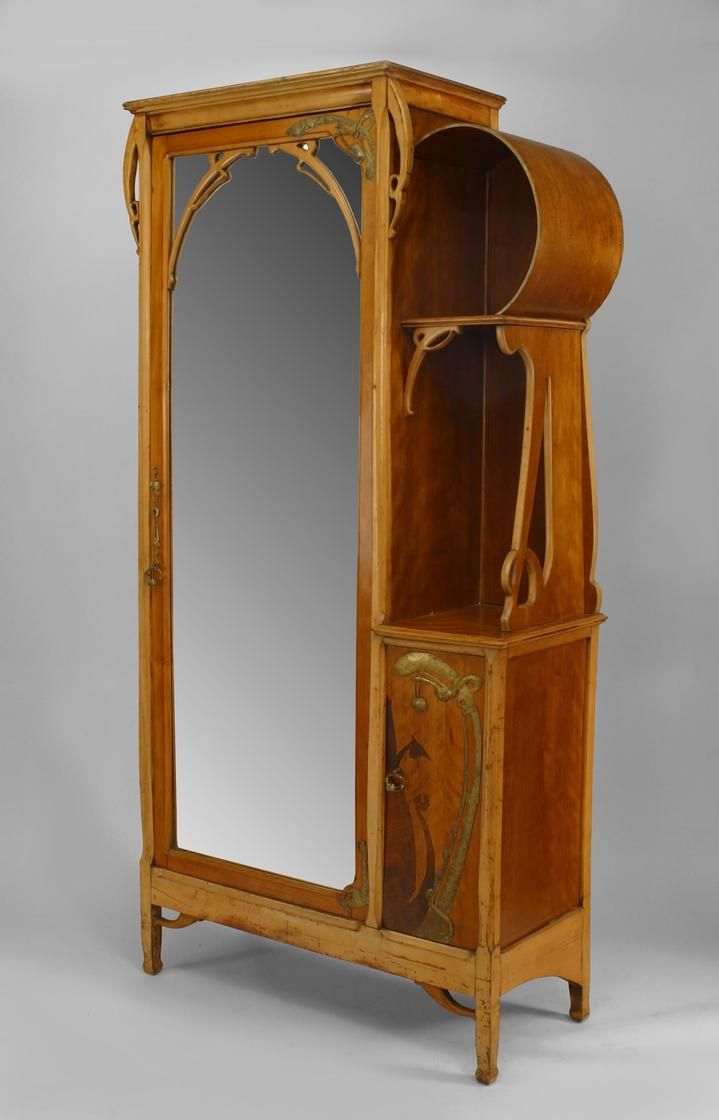 french art nouveau maple and inlaid armoire cabinet with brass trim and mirrored door and small. Black Bedroom Furniture Sets. Home Design Ideas