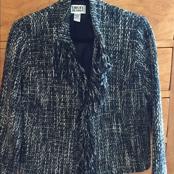 Chicos black and white fringed jacket. Beautiful. Fits like a large size small or small sized medium. Chico's Jackets & Coats Blazers