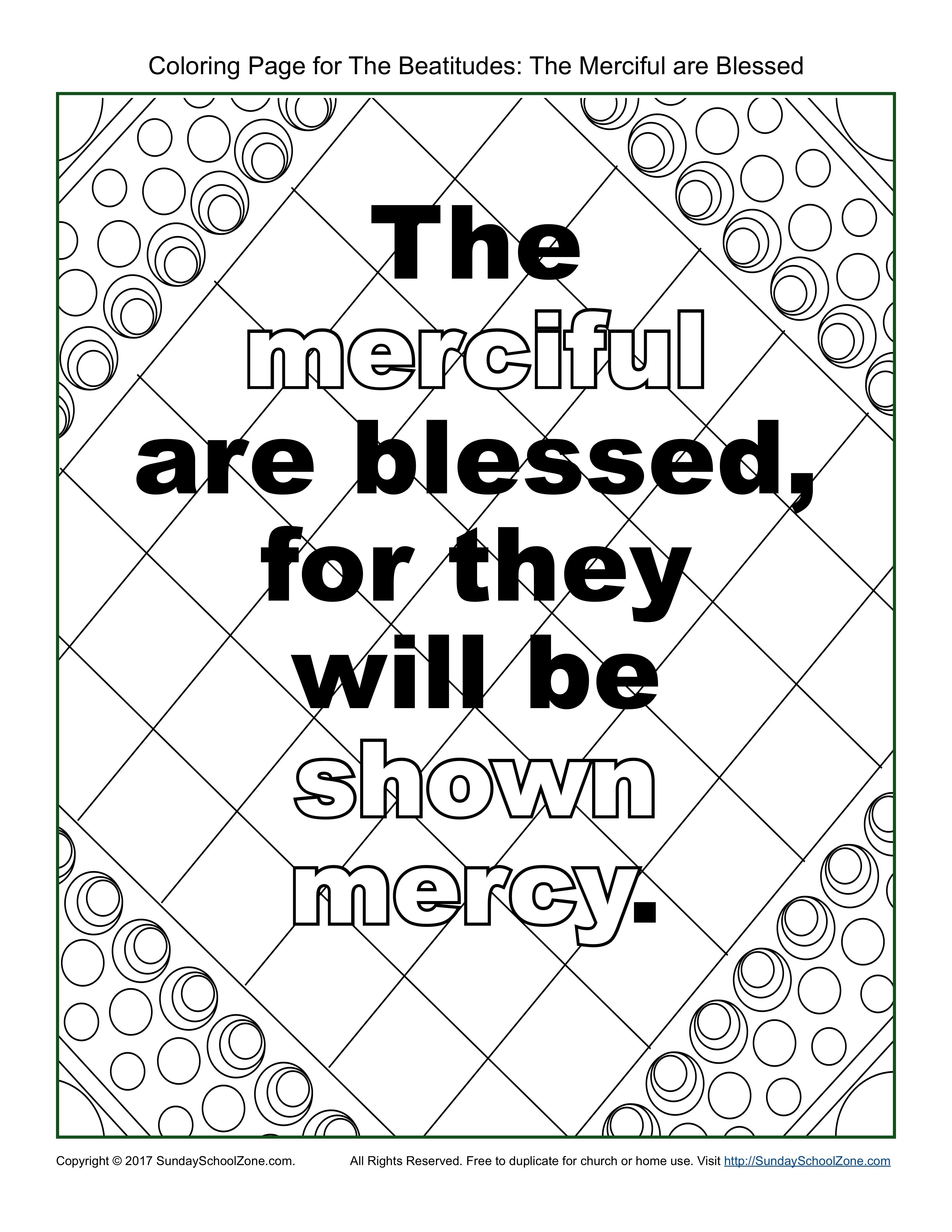 The Merciful Beatitudes Coloring Page On Sunday School Zone