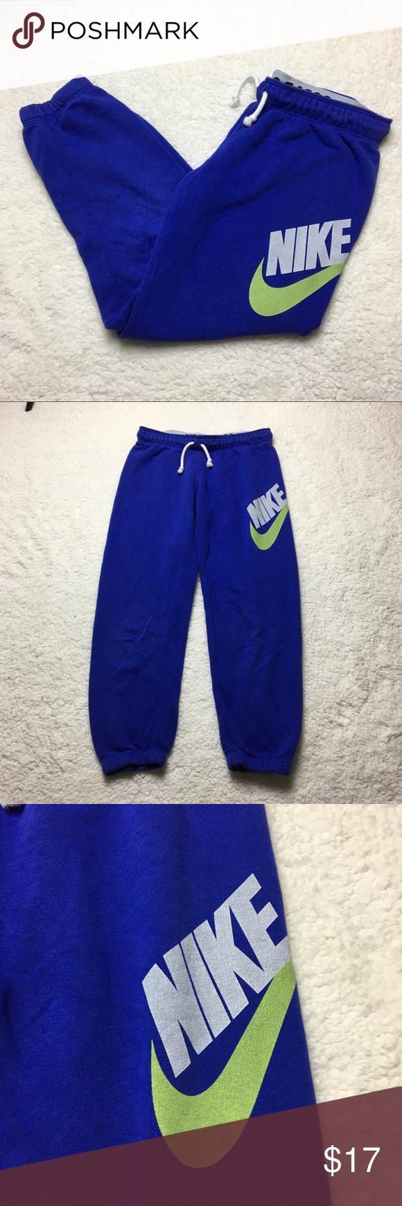 Cropped Nike logo blue sweatpants Sweatpants, Gym shorts