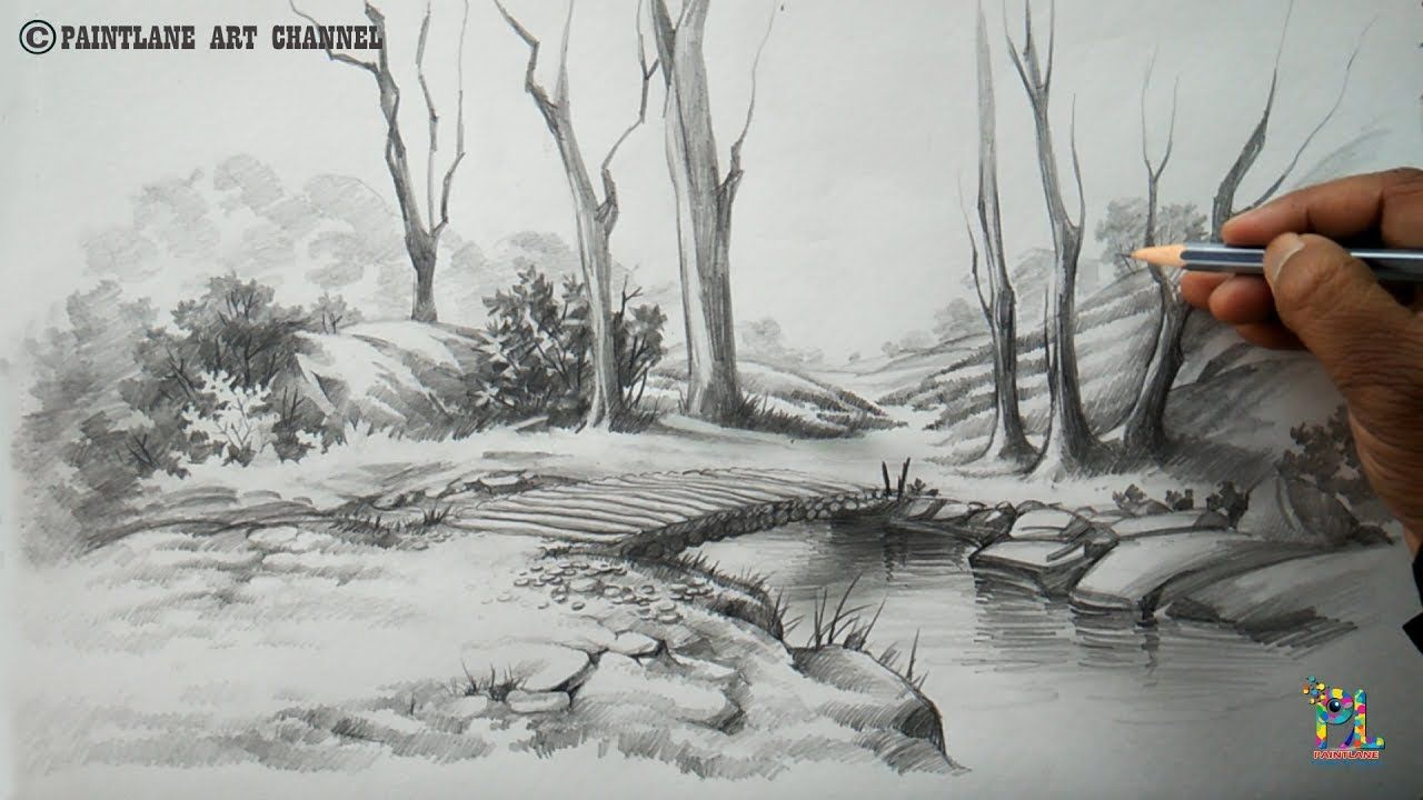 Landscape Simple Sketch At Paintingvalley Com Explore Collection Drawing Scenery Landscape Pencil Drawings Pencil Drawings