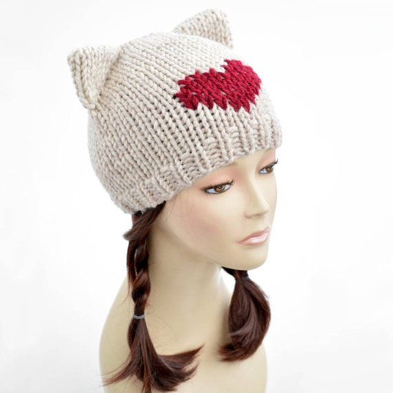 ff72b856 Cat Hat Knitting Pattern // Heart Hat Womens Knit Hat Pattern PDF, Cat Hat  Pattern, Cat Ear Beanie C