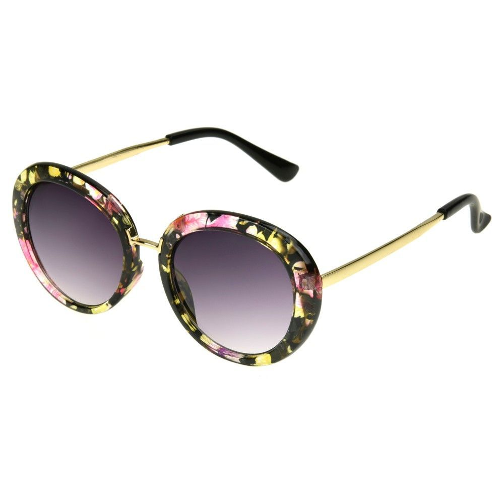 460ced065c Women s Round Sunglasses with Smoke Lenses and Floral Patter - Black ...
