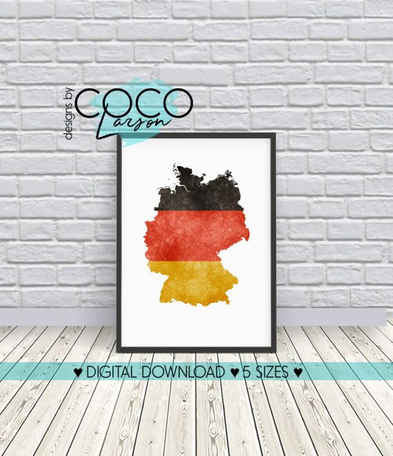 Germany Map Print, Germany Watercolour Map Poster, Wall Art, Travel Gift,  Home