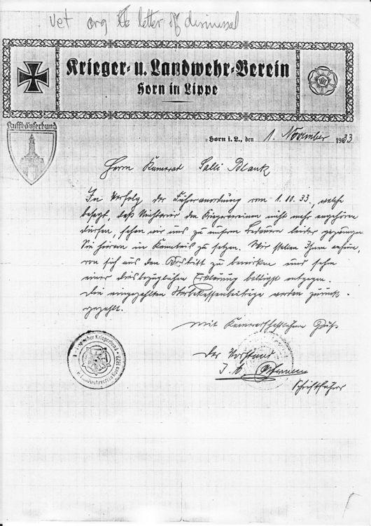 Dismissal letter to Salli Blank from German veterans organization - dismissal letter