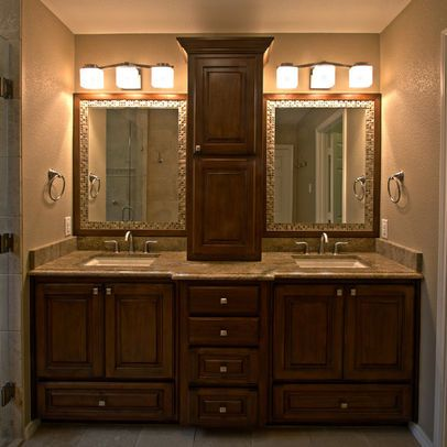 Master Bathroom Double Vanity With Center Tower