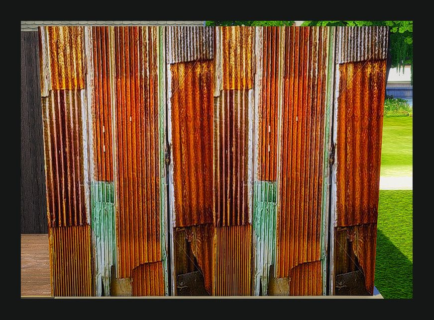 Sims 4 Designs Industrial Series Rusty Corrugated Metal Wall