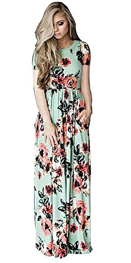 463da998f2852 VOKY Women s Short Sleeve Printing Dress Round Neck Boho Plus Size Long Maxi  Dress for Beach Party at Amazon Women s Clothing store