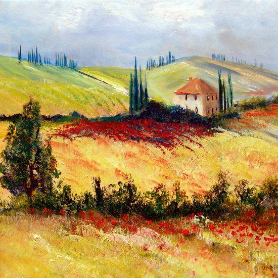 Toskana Landschaften Malen Landschaft Gemalde Landschaftsgemalde