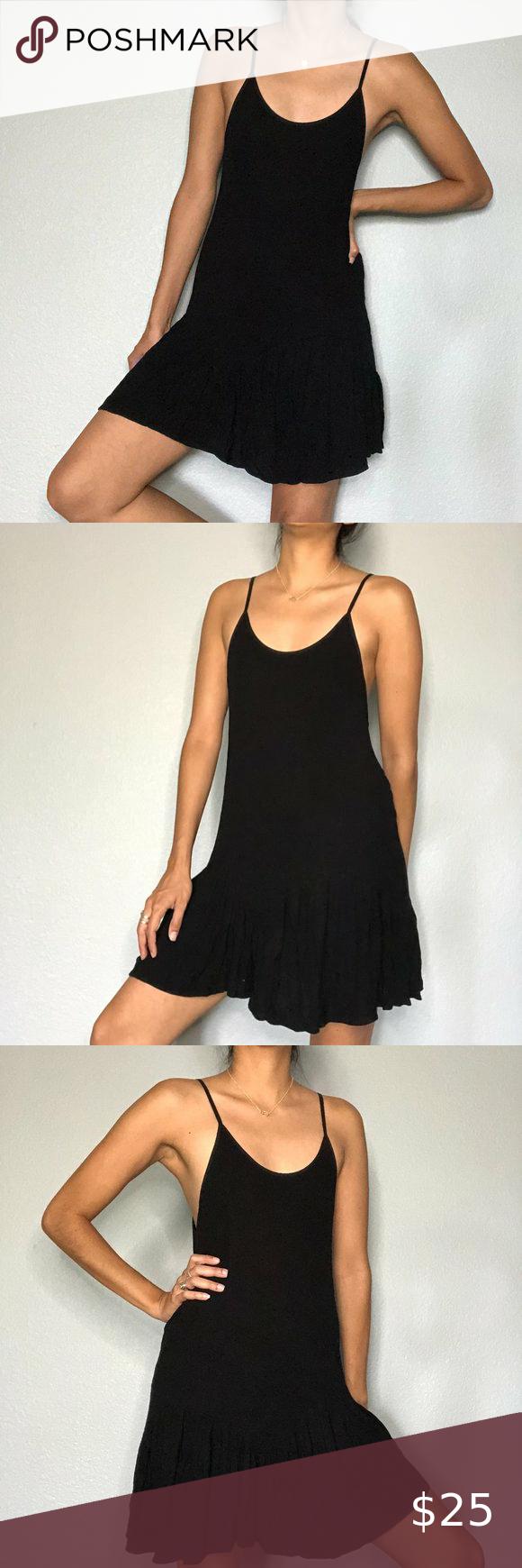 Zara Trafaluc Tank Ruffle Black Dress Size M Black Ruffle Dress Black Cami Dress Black Dress [ 1740 x 580 Pixel ]