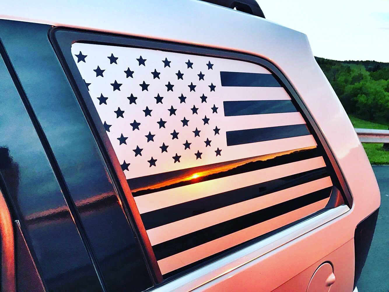 Custom Jeep Quarter Window Decals American Flag Decals In Silver By Chris2low Vinyl 60 American Flag Decal Window Decals Flag Decal