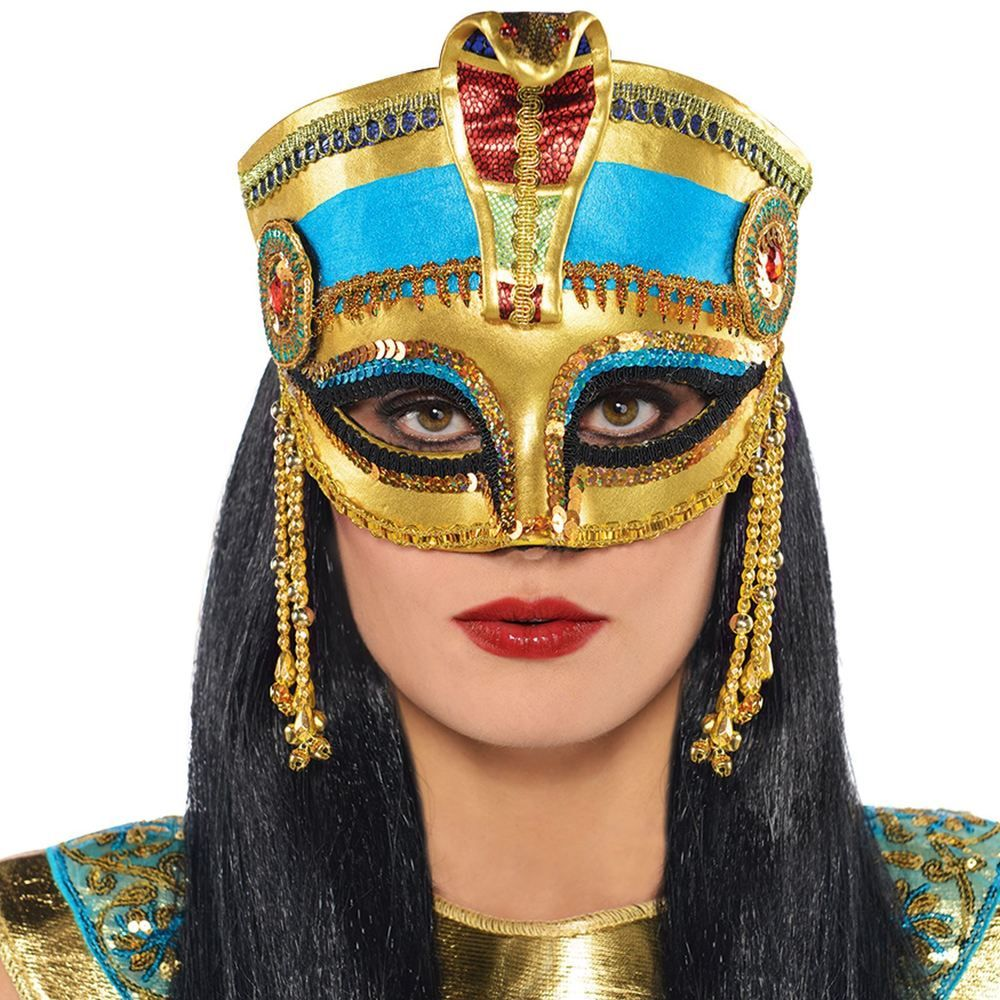 Egyptian Cleopatra Mask Headpiece Crown Pharaoh Ancient Queen Masquerade Party Amscan Party