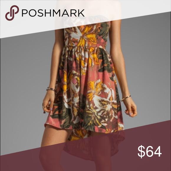 BB Dakota High-Low Strapless Dress NWT. Never worn. So cute! Size 8. Hidden zipper in back. No stretch. BB Dakota Dresses High Low